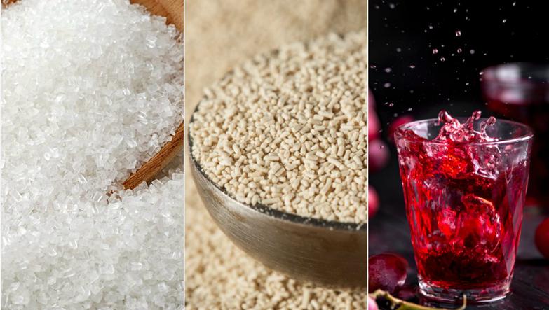 kırmızı şarap malzemeleri olan şeker, maya ve şarap bir arada.