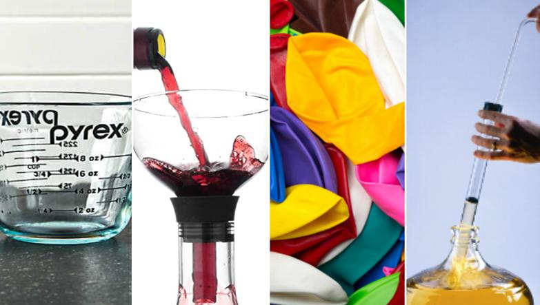 evde kırmızı şarap yapmak için gerekli olan ekipmanlar sırasıyla ölçü kabı, huni, balon ve hortum.